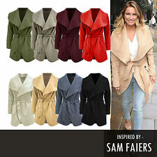 Womens Ladies Celebrity Inspired Short Oversized Waterfall Wool Belted Coat 8-14