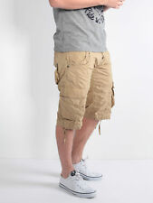 883 Police Seattle Mens Sand Cotton Shorts Pants Adjustable Draw Chords