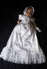 Infant Baby Girl Satin Organza Christening Gown Baptism Dress Size 0-3 3-6 6-12M