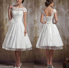 New Taffeta White/ivory short wedding dress Bridal Gown UK size 6 8 10 12 14 16