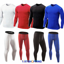 Mens Compression Base Layer Long Sleeve Gym Under Shirts Pants Jogger Sportswear