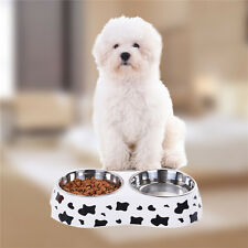 Stainless Steel Dog Pet Feeding Bowl Attractive Cow Pattern