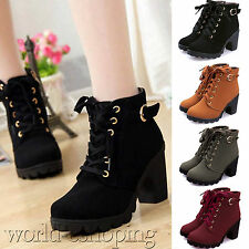 Ladies Women Lace Up Chunky Mid Block Heel Grip Sole Ankle Boots Round Toe Shoes