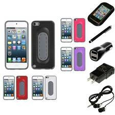 For Apple iPod Touch 5th 6th Gen Hybrid Toungue Kickstand Impact Case Headphones