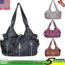 Women Ladies Girls Washed Leather Handbag Shoulder Messenger Crossbody Bag Tote