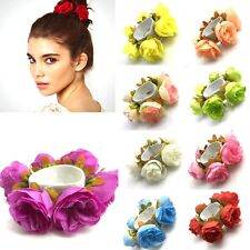 Women Flower Bun Garland Floral Head Knot Hair Top Scrunchie Band Elastic Bridal