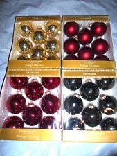 COUNTRY LIVING VINTAGE CHRISTMAS HOLIDAY TREE BALL GLASS SHINY MATTE ORNAMENTS