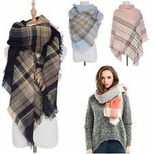 Cozy Cashmere Checked Pashmina Plaid Blanket Wrap Shawl Oversized Tartan Scarf