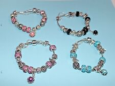 European style Pando Bracelet with Rhinestone beads, silver Plated charms