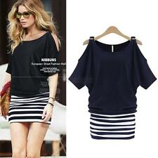 Women Lady Striped Bodycon Off Shoulder Mini Dress Fake 2pcs Summer Casual Dress