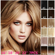 "Clip In Remy 100% Real Human Hair Extensions Half Head 7PCS 16"" 18"" 20"" 22"""