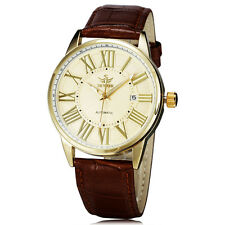 Fashion Mens Automatic Mechanical White Coffee Date Leather Analog Wrist Watch