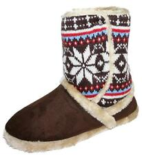 Ladies Girls Coolers Furry Velcro Fastening Ankle Boot Bootee Slippers Brown 5-6