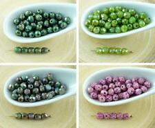100pcs Picasso Round Czech Glass Beads Faceted Fire Polished Small Spacer 4mm