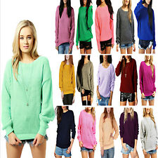 LADIES OVERSIZED BAGGY JUMPER KNITTED WOMENS SWEATER CHUNKY THICK KNIT WARM TOP