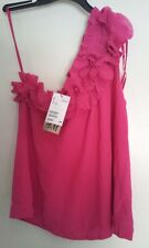 NWT H&M Summer Collection Rose Pink One Shoulder Ruffles Top Blouse