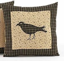 "Primitive Country Rustic Kettle Grove 16"" Patchwork Crow Applique Toss Pillow"