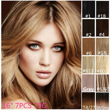 "Full Head Clip in Remy Human Hair Extensions High Quality 16"" 7PCS"