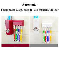 Automatic Toothpaste Dispenser & 5 Toothbrush Holder Set Wall Mount Stand