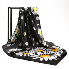 "New Arrival Women's Orange Black Sunflower Printed Satin Square Scarf 35""*35"""