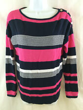 Chaps Womens Pink Black White Striped Pullover Sweater Petite Size M PM