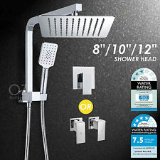 "WELS 8"" 10"" 12"" Thin Square Rainfall Shower Head Handheld Wall Arm Set Mixer Tap"