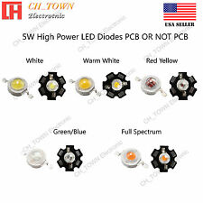 5PCS 5W White Royal Blue Orange UV Violet RGB High Power LED Chip Light 20mm PCB