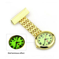 New Luminous Dial Nurse Doctor Brooch Clip Quartz Fob Golden Silver Pocket Watch