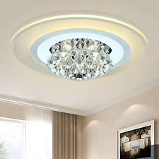 """18"""" Round Modern Ultra Thin Crystal LED Ceiling Light Mounted Lighting Living"""