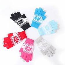 Fashion Soft Warm Winter  Men Women Knitted Snowflake Touch Screen Gloves