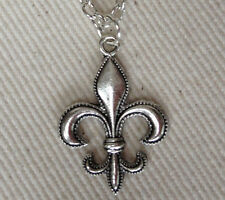 Necklace Charm Silverplated Chain New Orleans Saints Fleur-de-Lis New Handcraft