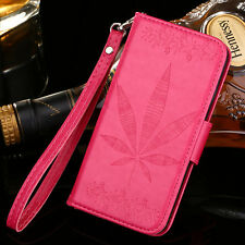 Rose Red Maple Leaf Flip Cover Stand Wallet PU Leather Case For Various mobile