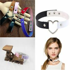 Fashion Goth Funky Rivet Punk Leather Collar Choker Heart Necklace