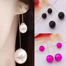 New Dangle Drop Threader Pearl Long Chain Earrings Silver Plated