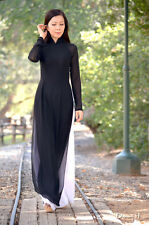 Ao Dai Vietnam Outfit, Double Layer Sheer and Silk, Black Dress, White Pant