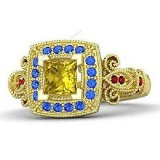1CT Yellow Gold Finish 925 Silver Multi Stone Disney Princess Engagement Ring