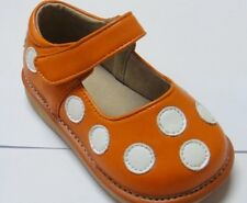 Discontinued Toddler Girls Leather Orange with White Squeaky Shoes Size 2