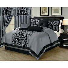 Luxury Comforter Collection Bedding 7pc Linen King Queen Faux Silk Pink Grey Bed