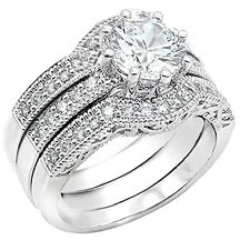 Womens cz Wedding Ring Sterling Silver Bridal Vintage Engagement Set Size 5 -10