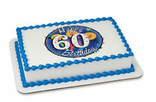 Happy 60th Birthday 60 edible image cake topper frosting personalized #20012