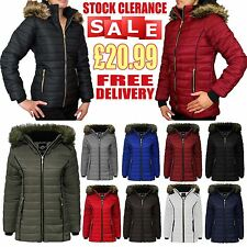Ladies Girls Padded Bubble Fur Hood Puffer Jacket Womens Thick Quilted Coat 8-14