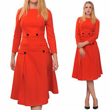 RED WOMENS CLASSIC BUSINESS CHURCH WORK VINTAGE ALINE MIDI SKIRT SUIT DRESS