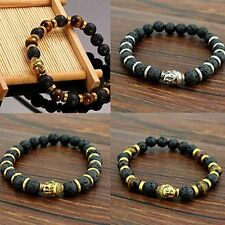 Lava Stone Charming Bracelet Rock Elastic Bracelet Bangle Buddha Beaded