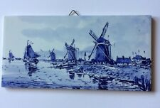 Vintage Delft Blue Tile • Windmills And Sailboats
