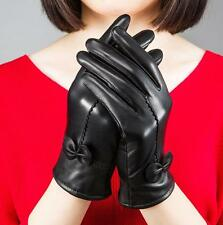 NEW Fashion Women's Winter Genuine Lambskin Leather Driving Soft Lining Gloves