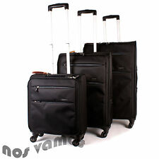 Set of 3 Black/Grey Lightweight Suitcases 4 Wheel Spinner Wheeled Hand Luggage