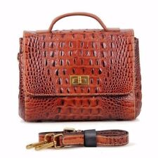 GENUINE LEATHER Bag Vintage Alligator Skin HandBag Purse Crocodile Pattern brown
