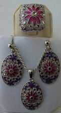 925 Sterling Silver Glass Filigree Earrings, chain & pendant and ring Set Malta