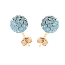 14K Yellow Gold Swarovski Elements Crystal Air Blue Opal Disco Ball Stud Earring