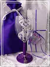 Personalised White Unicorn Purple Glitter Wine Glass Hand Painted Boxed Gift